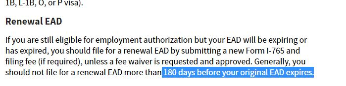 H4 EAD RFE for filing more than 120 days in advance of EAD
